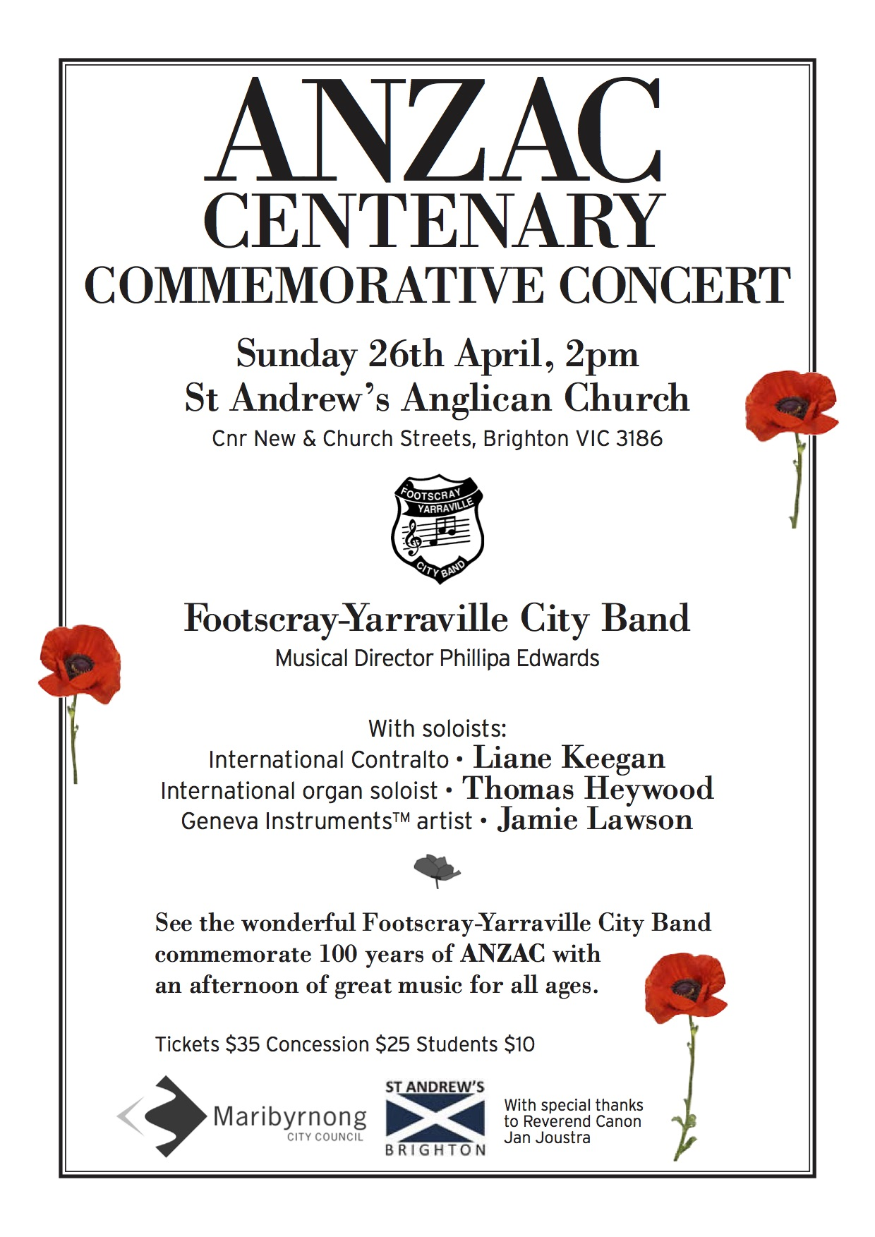 ANZAC Concert Poster